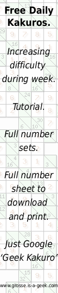 Kakuro puzzles - cross between sudoku and a crossword. All the help you need on this site.